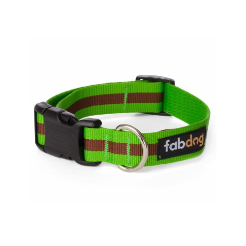 Fab Dog - Classic Stripe Dog Collar Green
