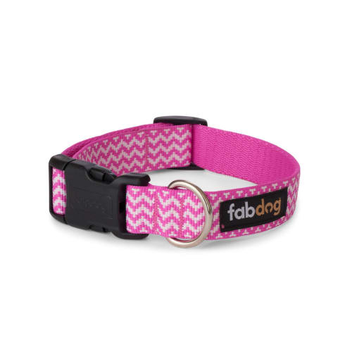 Fab Dog - Chevron Stripe Dog Collar Pink
