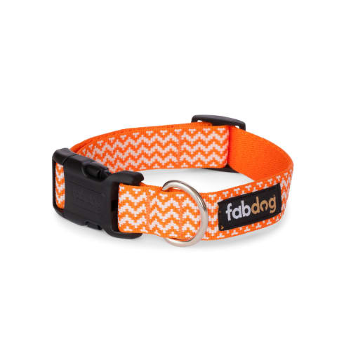 Fab Dog - Chevron Stripe Dog Collar Orange