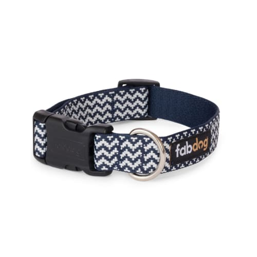 Fab Dog - Chevron Stripe Dog Collar Navy