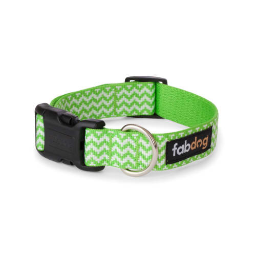 Fab Dog - Chevron Stripe Dog Collar Lime