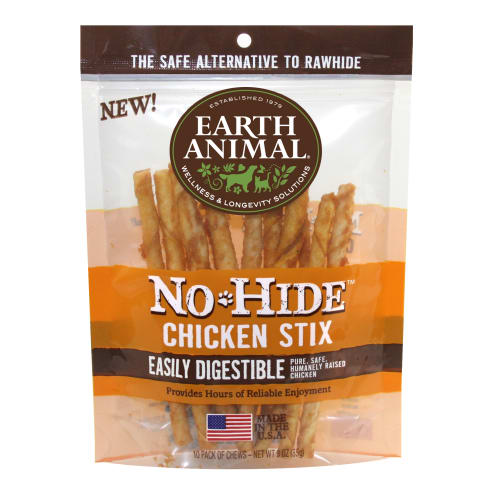 Earth Animal - No-Hide Easily Digestible Chicken Stix Dog Chews 10 Pack
