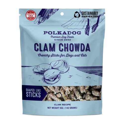 PolkaDog - Clam Chowda Crunchy Treat For Dogs & Cats, 8oz