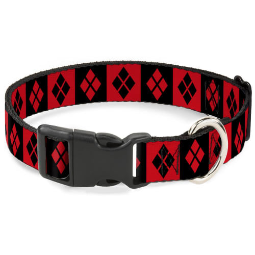 Buckle Down - Harley Quinn Diamond Blocks Red/Black Clip Collar