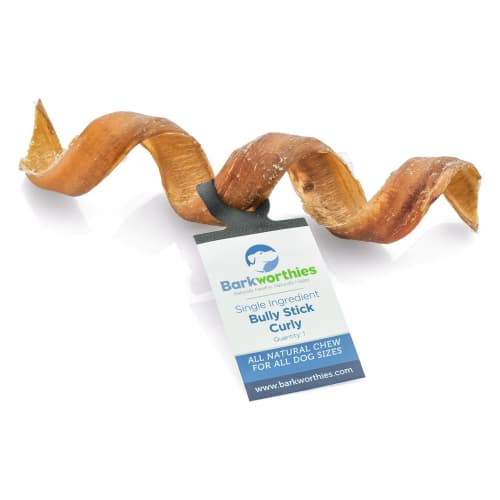 Barkworthies - Single Ingredient Curly Bully Stick Grain-Free Dog Chew, 5in