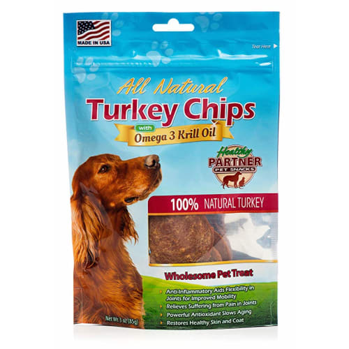 Healthy Partner - All Natural Turkey Chips With Krill Oil Grain-Free Dog Treat, 3oz