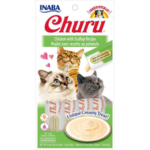 Inaba Ciao - Churu Creamy Chicken & Scallop Cat Treats, 2oz