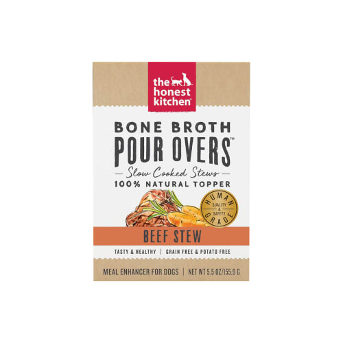 Honest Kitchen - Bone Broth Pour Overs Grain-Free Beef Stew Recipe Dog Food Topper, 5.5oz