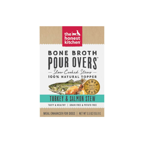 Honest Kitchen - Bone Broth Pour Overs Grain-Free Turkey & Salmon Stew Recipe Dog Food Topper, 5.5oz