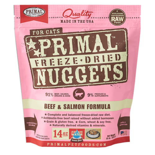 Primal - Beef & Salmon Nuggets Grain-Free Freeze-Dried Cat Food, 14oz