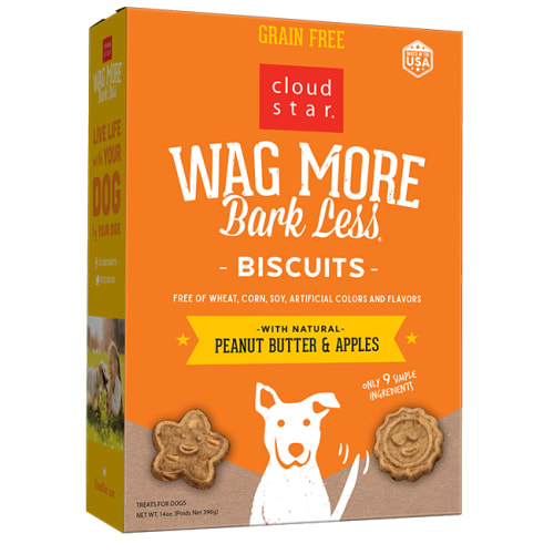Cloud Star - Wag More Bark Less Peanut Butter & Apples Oven Baked Biscuits Grain-Free Dog Treats, 14oz