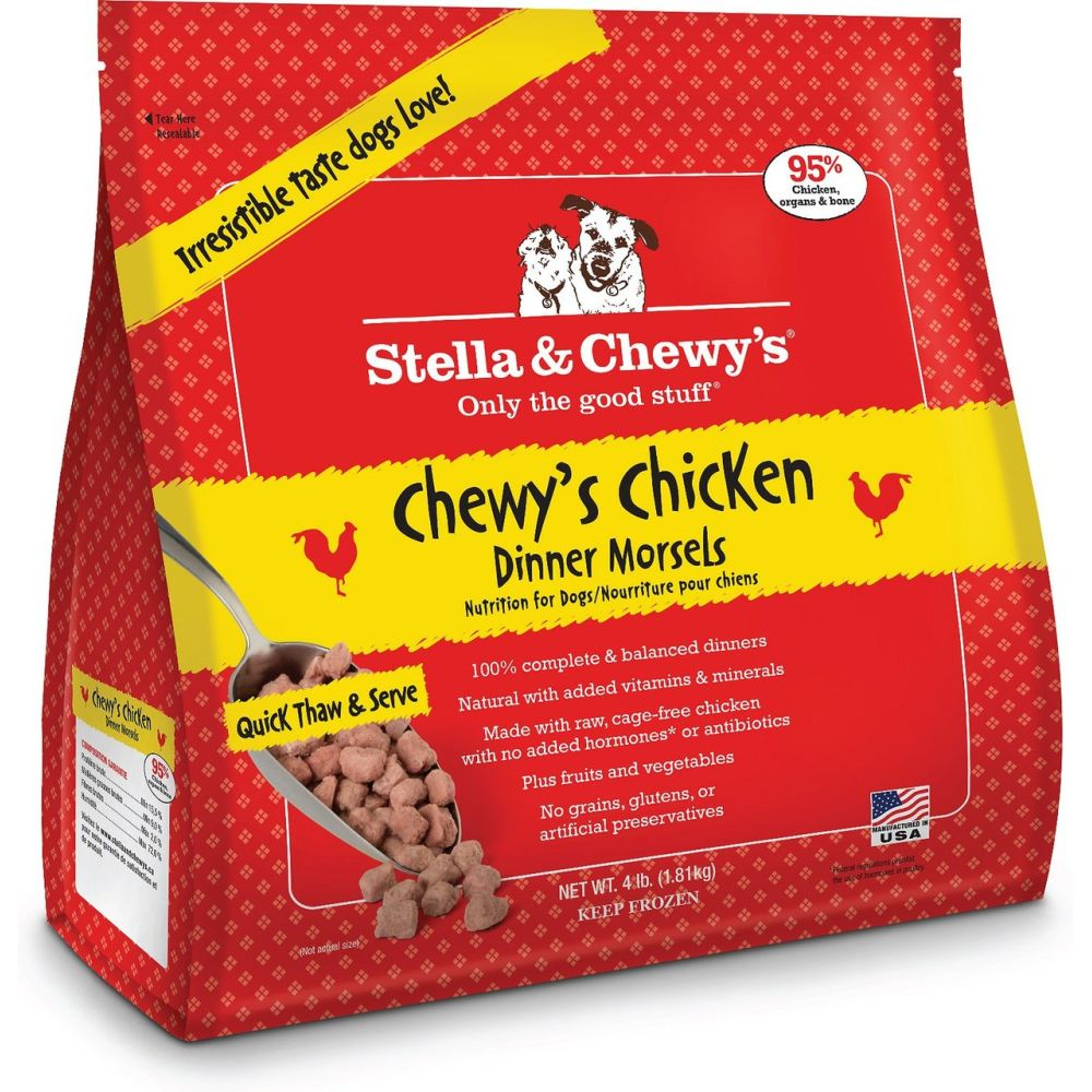 Stella & Chewy's - Chewy's Chicken Dinner Morsels Grain-Free Raw Frozen Dog Food, 4lb