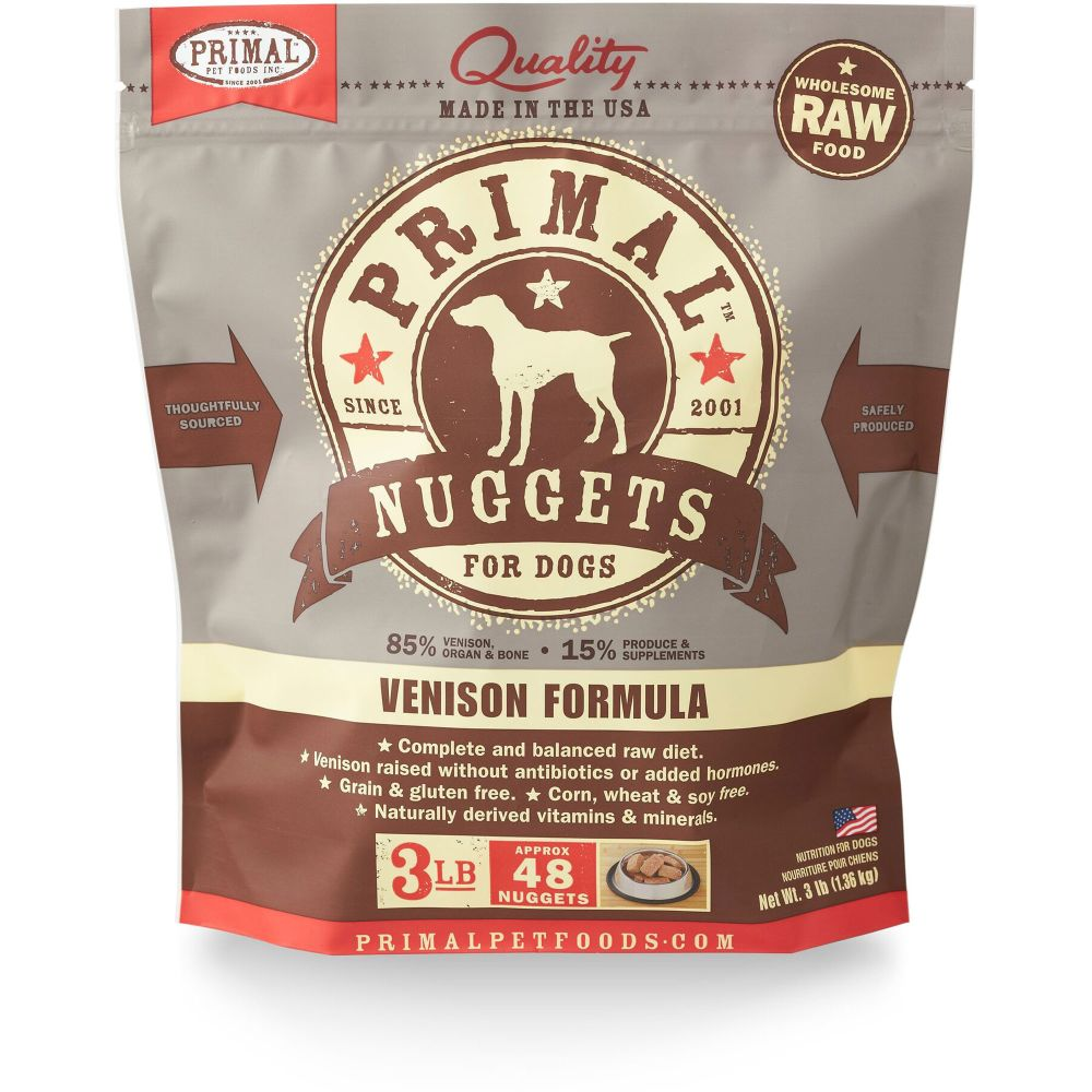 Primal - Venison Formula Nuggets Grain-Free Raw Frozen Dog Food, 3lb