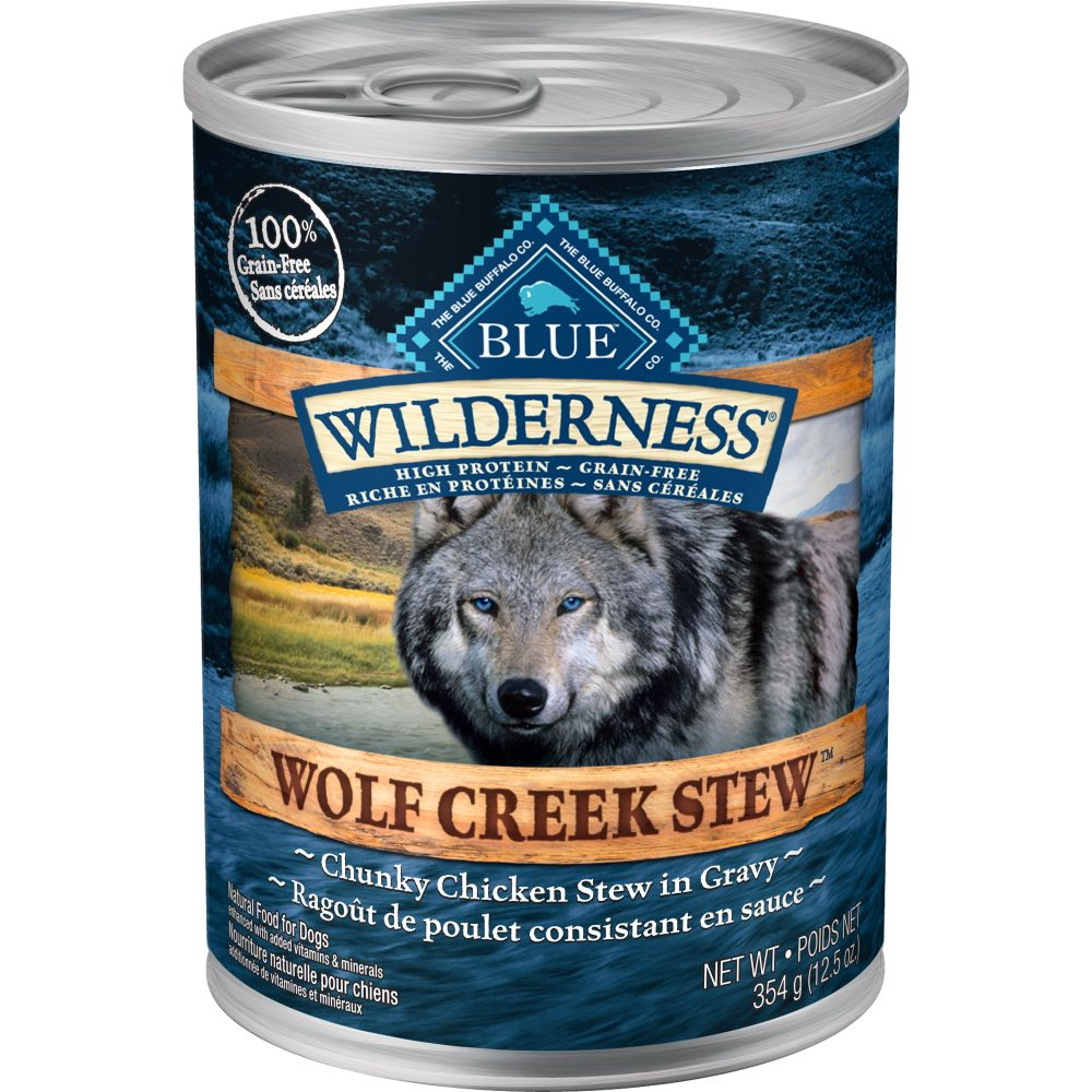 Blue Buffalo - Wilderness Wolf Creek Stew Chunky Chicken Stew Grain-Free Canned Dog Food