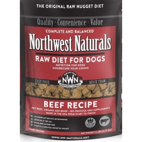 Northwest Naturals - Complete And Balanced Beef Recipe Nuggets Grain-Free Raw Frozen Dog Food, 6lb