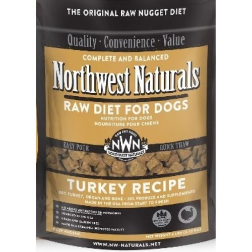 Northwest Naturals - Complete And Balanced Turkey Recipe Nuggets Grain-Free Raw Frozen Dog Food, 6lb