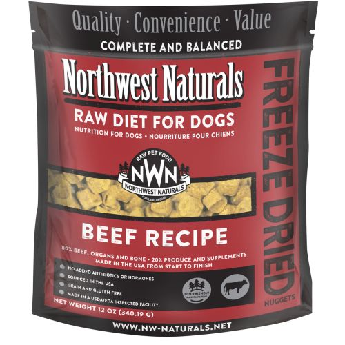 Northwest Naturals - Complete And Balanced Beef Recipe Nuggets Grain-Free Freeze-Dried Dog Food, 12oz