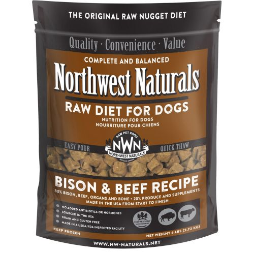 Northwest Naturals - Complete And Balanced Bison & Beef Recipe Nuggets Grain-Free Raw Frozen Dog Food, 6lb
