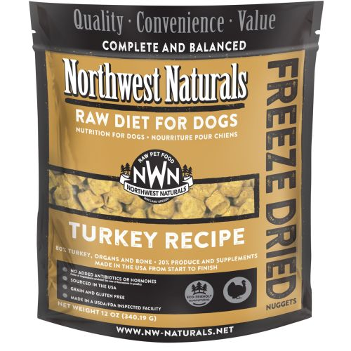 Northwest Naturals - Complete And Balanced Turkey Recipe Nuggets Grain-Free Freeze-Dried Dog Food, 12oz