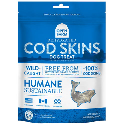 Open Farm - Humane, Sustainable Dehydrated 100% Cod Skins Grain-Free Dog Treats, 2.25oz