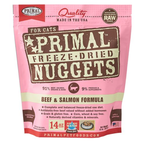 Primal - Beef & Salmon Nuggets Grain-Free Freeze Dried Food, 14oz