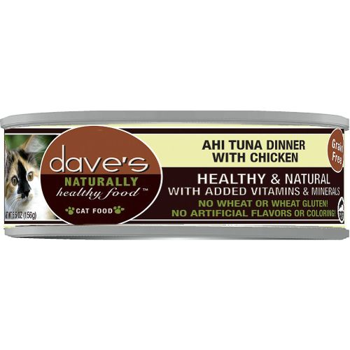 Dave's Pet Food - Naturally Healthy Ahi Tuna Dinner With Chicken Grain-Free Canned Cat Food