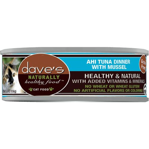 Dave's Pet Food - Naturally Healthy Ahi Tuna Dinner With Mussel Grain-Free Canned Cat Food