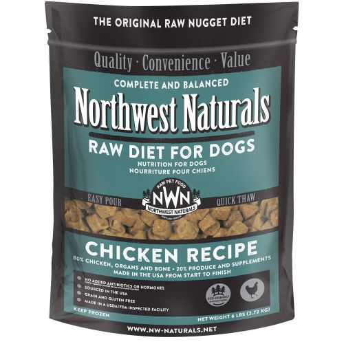 Northwest Naturals - Complete And Balanced Chicken Recipe Nuggets Grain-Free Raw Frozen Dog Food, 6lb