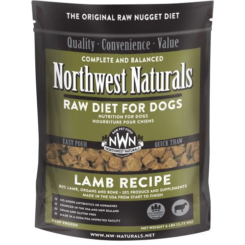 Northwest Naturals - Complete And Balanced Lamb Recipe Nuggets Grain-Free Raw Frozen Dog Food, 6lb