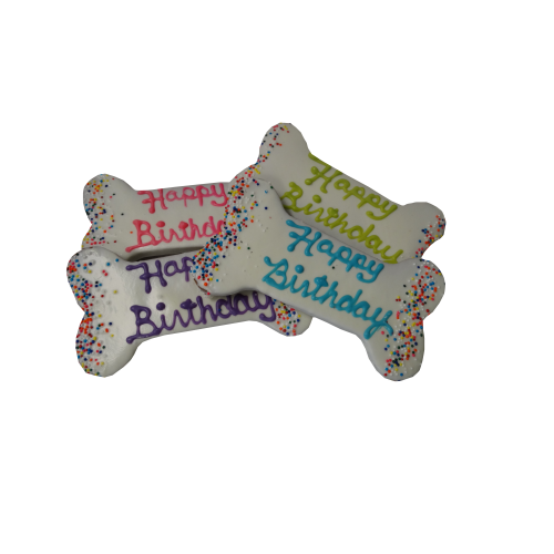 Preppy Puppy - Happy Birthday' Bone-Shaped Cookie With Icing & Sprinkles Dog Treats,