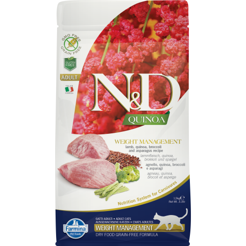 Farmina - Natural & Delicious Quinoa Weight Management Lamb Dry Cat Food, 3.3lbs