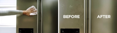 Hand drying Stainless Steel Appliance with paper towel and appliance before and after cleaning comparison