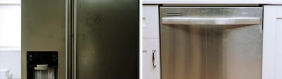 Stainless Steel Appliances with fingerprints and smudges