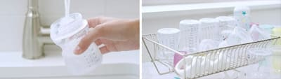 Hand rinsing Baby Bottle under faucet and bottle parts drying in dish rack