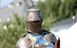 Medieval knight face armour