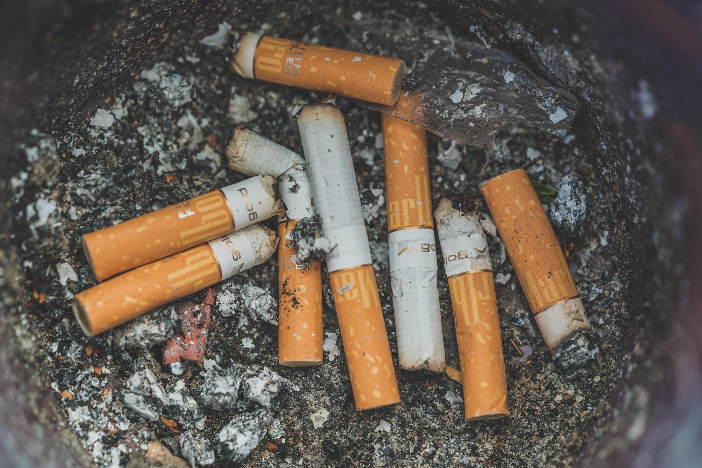 Cigarette butts smoking cessation image.