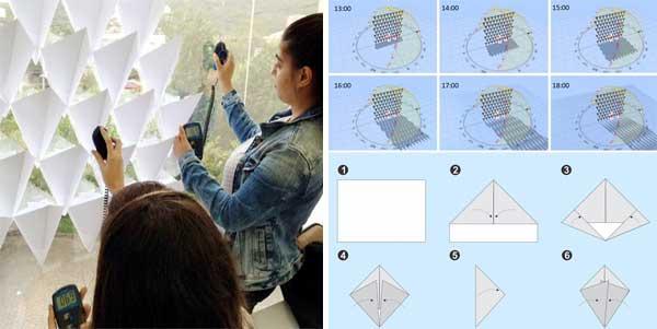 Controle solar dobradura de papel