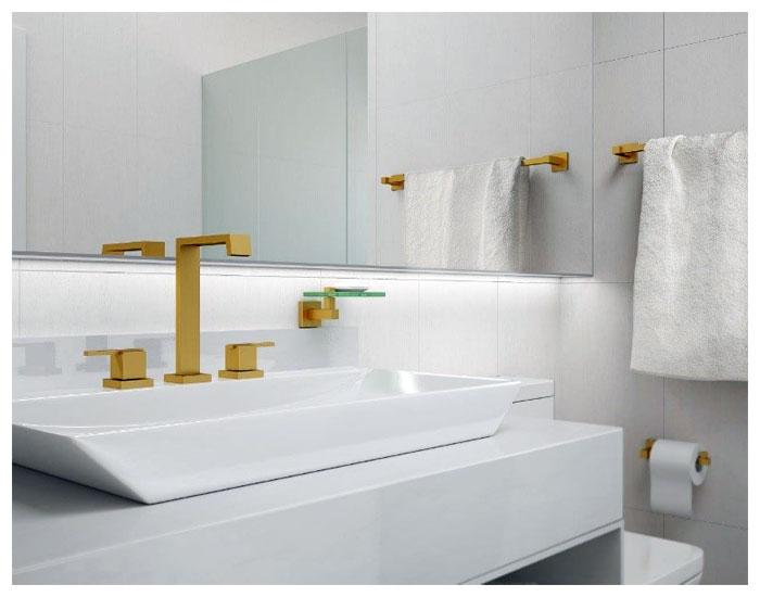 Metais FANI dourados para banheiro