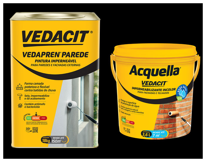 Novas embalagens Vedacit Vedapren Parede e Acquella