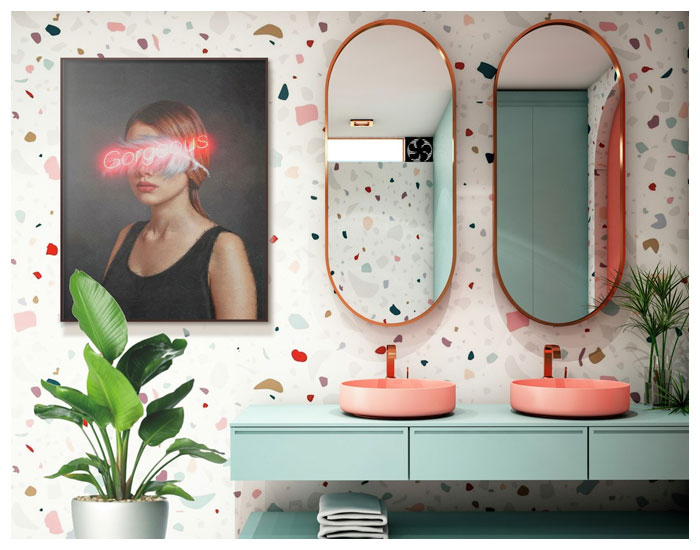 Quadros Urban Arts decorando banheiros