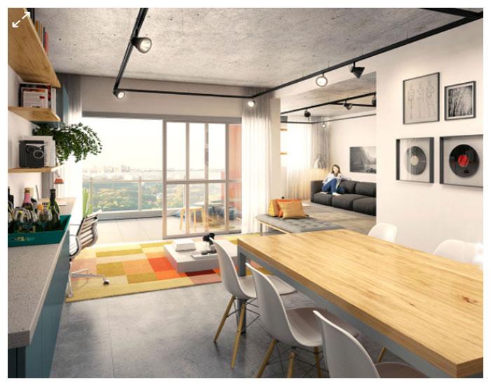 Apartamentos no futuro em perspectiva