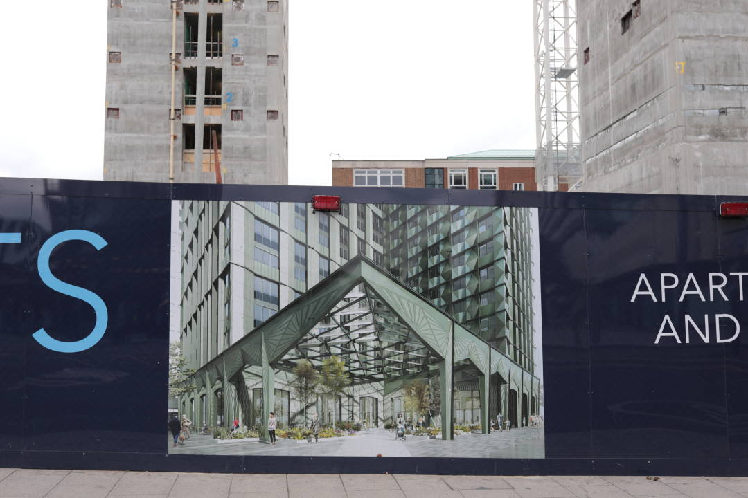 Photo of a computer generated render on a hoarding
