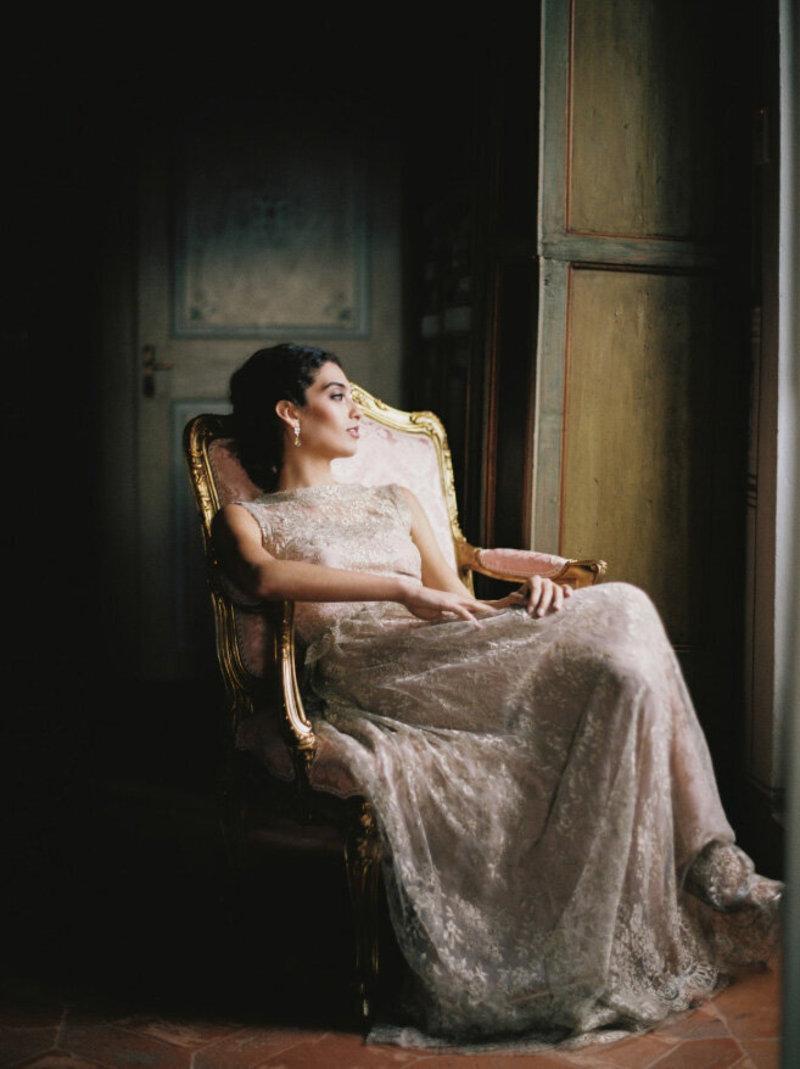 Bride in window light.
