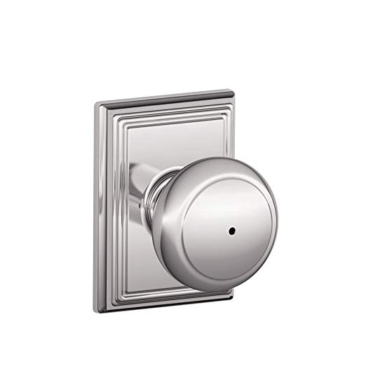 An image of Schlage F40AND625ADD House Privacy Chrome Effect Lever Lockset Lock