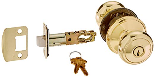 An image of Schlage F80AND605 Storeroom Polished Brass Lock | Door Lock Guide