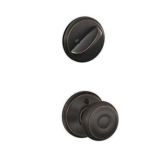 An image of Schlage F59 GEO Aged Bronze Lock | Door Lock Guide