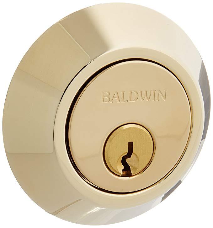 An image of Baldwin 8241003 Patio Brass Lock   Door Lock Guide