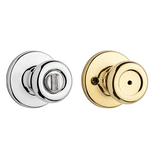 An image related to Kwikset 93003-039 Bathroom Privacy Polished Brass Lever Lockset Lock