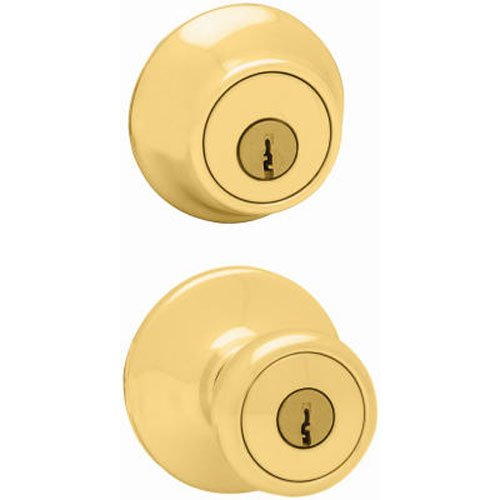 An image of Kwikset 96950-163 Entry Metal Polished Brass Lock