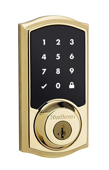 An image of Kwikset 99160-001 Polished Brass Touchscreen Lock